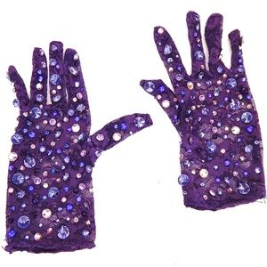 PURPLE PANTHER RHINESTONE LACE GLOVES